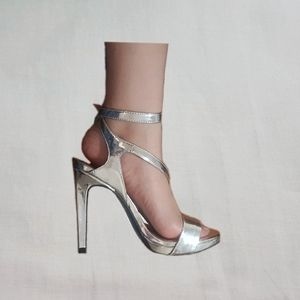 Zara metallic strappy heels